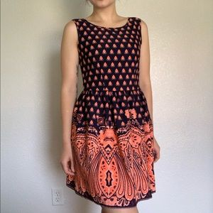 Dresses & Skirts - Damask Coral & Navy Summer Dress